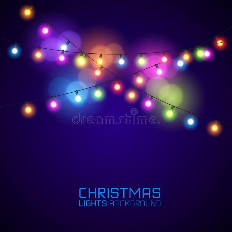Het gloeien Kerstmislichten vector illustratie
