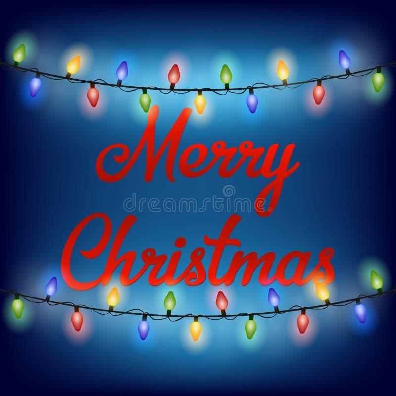 Het gloeien Kerstmislichten voor tekst Vrolijke Kerstmis Vector illustratie stock illustratie