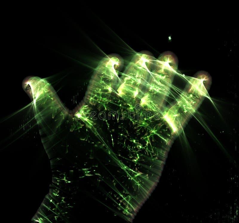 Het gloeien kirlian aurafotografie met groene corona van een mannelijke menselijke hand royalty-vrije illustratie