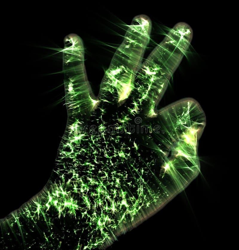 Het gloeien kirlian aurafotografie met groene corona van een mannelijke menselijke hand stock illustratie