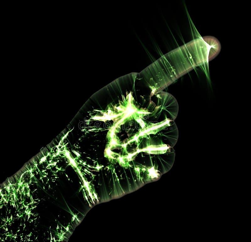 Het gloeien kirlian aurafotografie met groene corona van een mannelijke menselijke hand vector illustratie