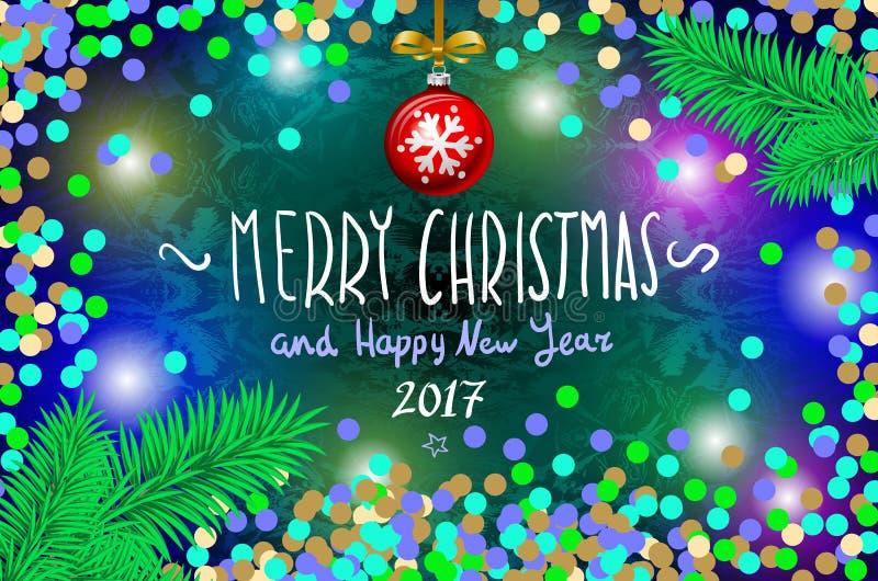 Het gloeien kleurenkerstmis steekt Kroon voor het Ontwerp van de Groetkaarten van de Kerstmisvakantie aan Vrolijke Kerstmis en Ge royalty-vrije illustratie