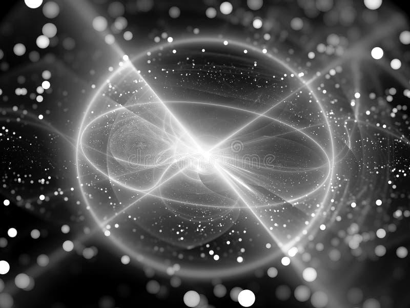 Het gloeien krachtbron in ruimte zwart-wit vector illustratie