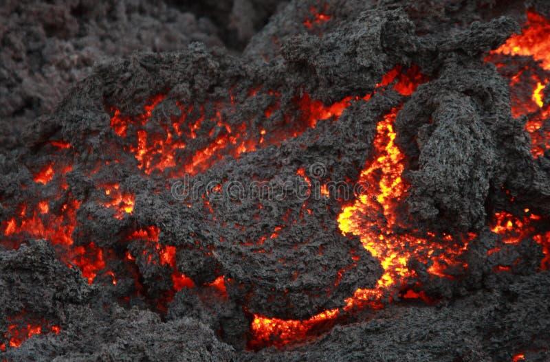 Het gloeien lavastroom, Vulkaan Pacaya stock fotografie