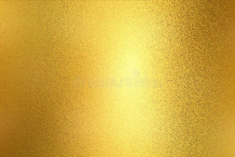 Het gloeien lichte gouden de muurtextuur van het verfstaal, abstracte patroonachtergrond stock foto's