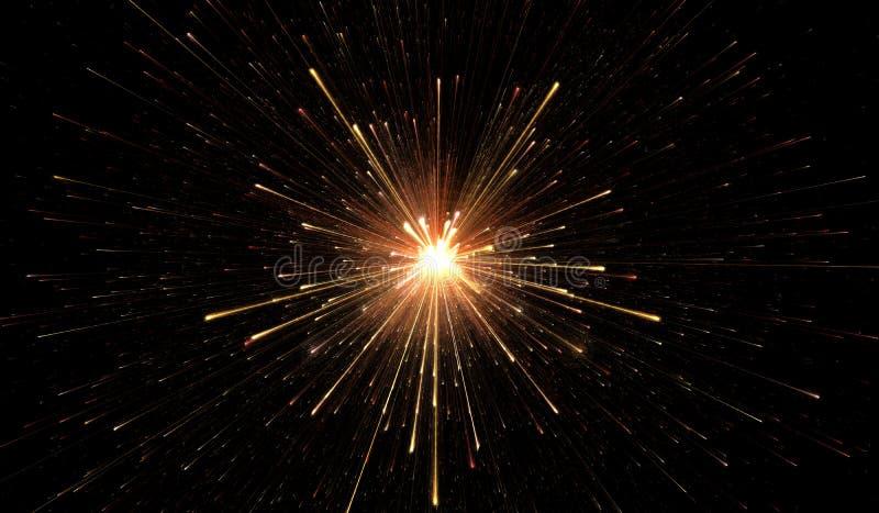 Het gloeien lichten, deeltjesexplosie stock illustratie