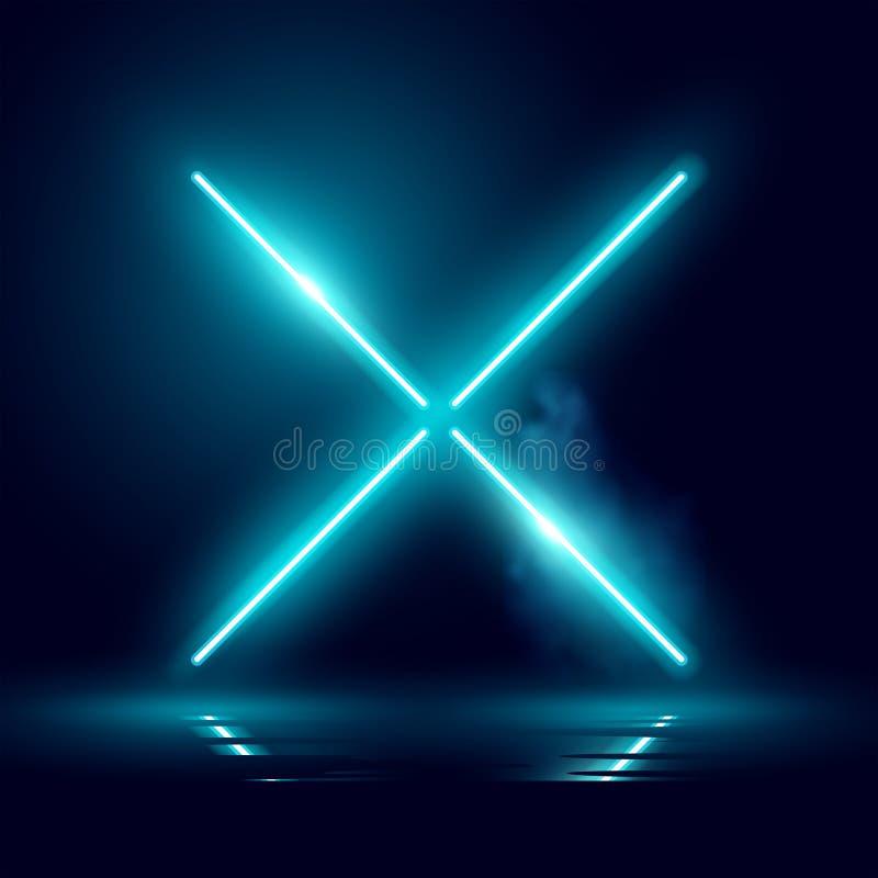 Het gloeien Neon Achtergrondstadiumlicht royalty-vrije illustratie