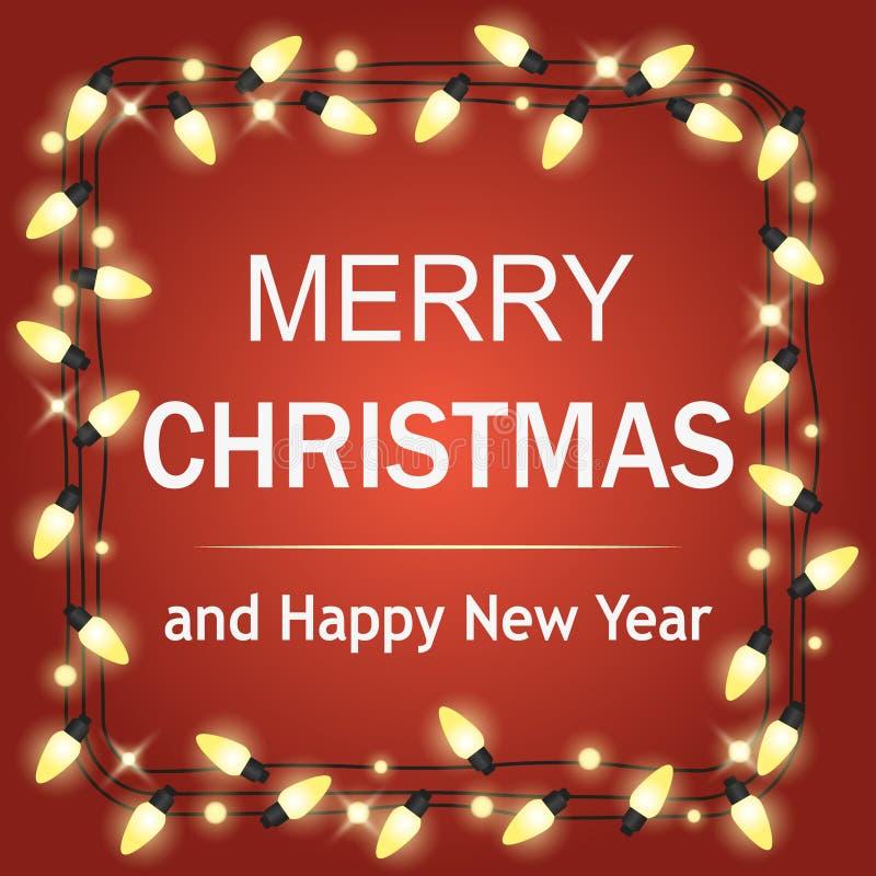 Het gloeien steekt Witte Kerstmis Kroon voor het Ontwerp van de Groetkaarten van de Kerstmisvakantie aan Houten Hand Getrokken Ac stock illustratie