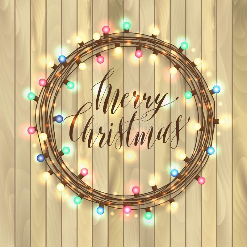 Het gloeien steekt Witte Kerstmis Kroon voor het Ontwerp van de Groetkaarten van de Kerstmisvakantie aan Houten achtergrond stock illustratie