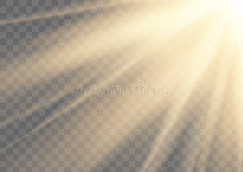 Het gloeien zonstralen het fonkelen licht op transparante achtergrond wordt geïsoleerd die royalty-vrije stock afbeelding