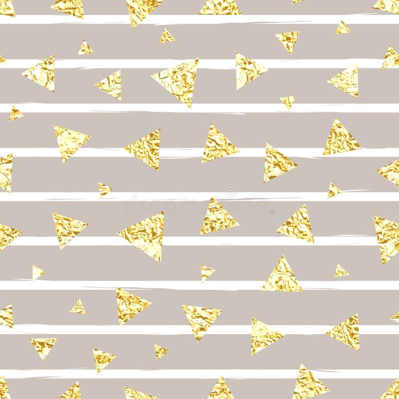 Het gloeiende gouden naadloze vectorpatroon van foliedriehoeken stock illustratie