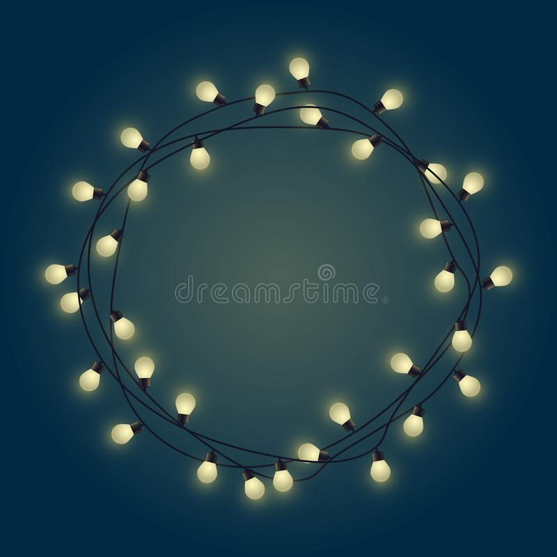 Het gloeiende kader van de bolslinger, decoratieve lichte slinger, plaatst voor tekst van glanzende lampen, die bounding vakje aa royalty-vrije illustratie