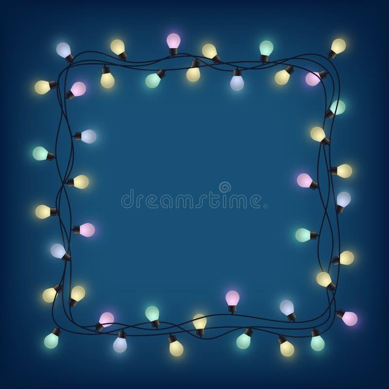 Het gloeiende kader van de bolslinger, decoratieve lichte slinger, plaatst voor tekst van glanzende lampen, die bounding vakje aa stock illustratie