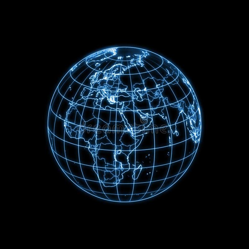 Het gloeiende overzicht van de Aarde van de bol stock illustratie
