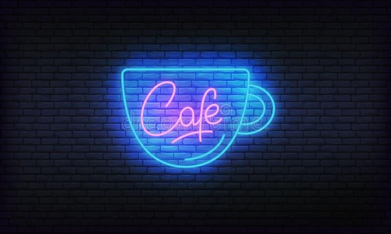 Het gloeiende teken van het koffieneon Helder vectoretiket van kop en Koffie het van letters voorzien stock illustratie