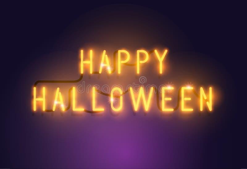 Het gloeiende teken van Neon Gelukkige Halloween stock illustratie