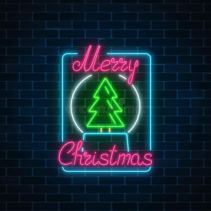Het gloeiende teken van neonkerstmis met Kerstmisboom in sneeuwbal Het Webbanner van het Kerstmissymbool in neonstijl stock illustratie