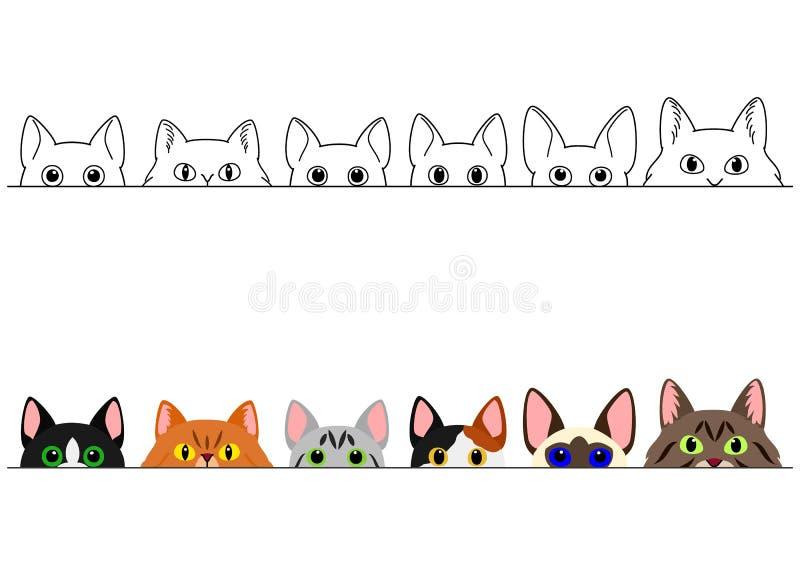 Het gluren de leuke reeks van de kattengrens royalty-vrije illustratie