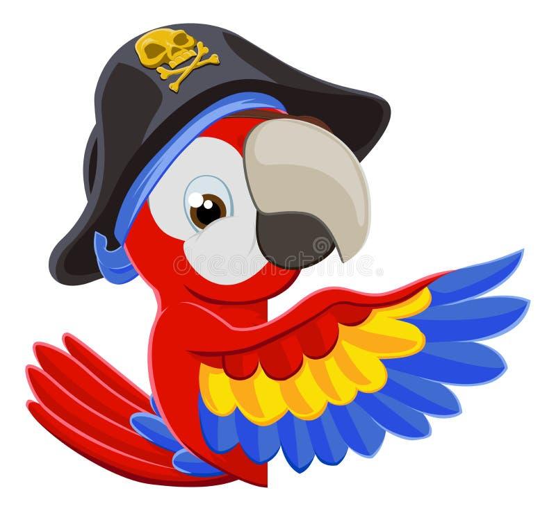 Het gluren de Papegaai van de Beeldverhaalpiraat stock illustratie