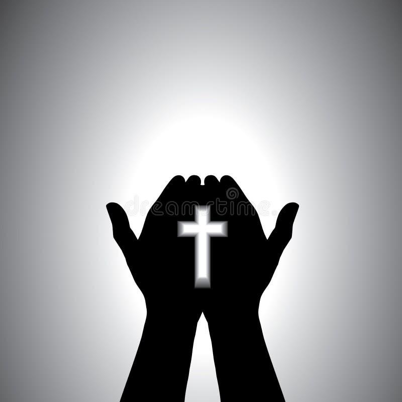 Het godsvruchtige christelijke worshiping met in hand kruis royalty-vrije illustratie