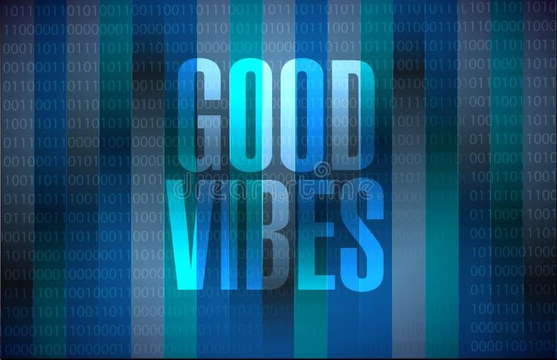 het goede concept van het vibes binaire teken vector illustratie