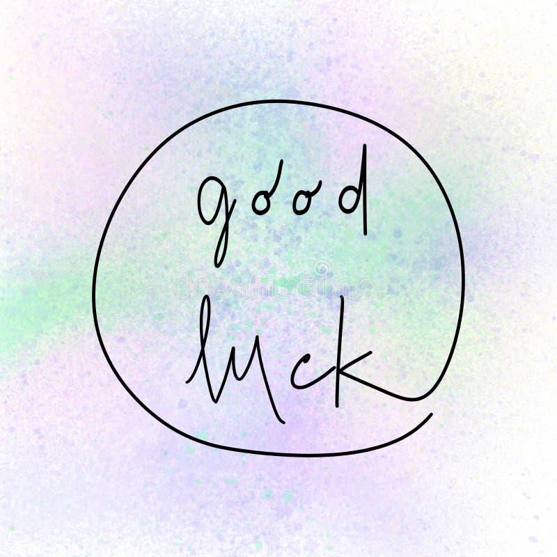 Het goede geluk hand getrokken van letters voorzien vector illustratie