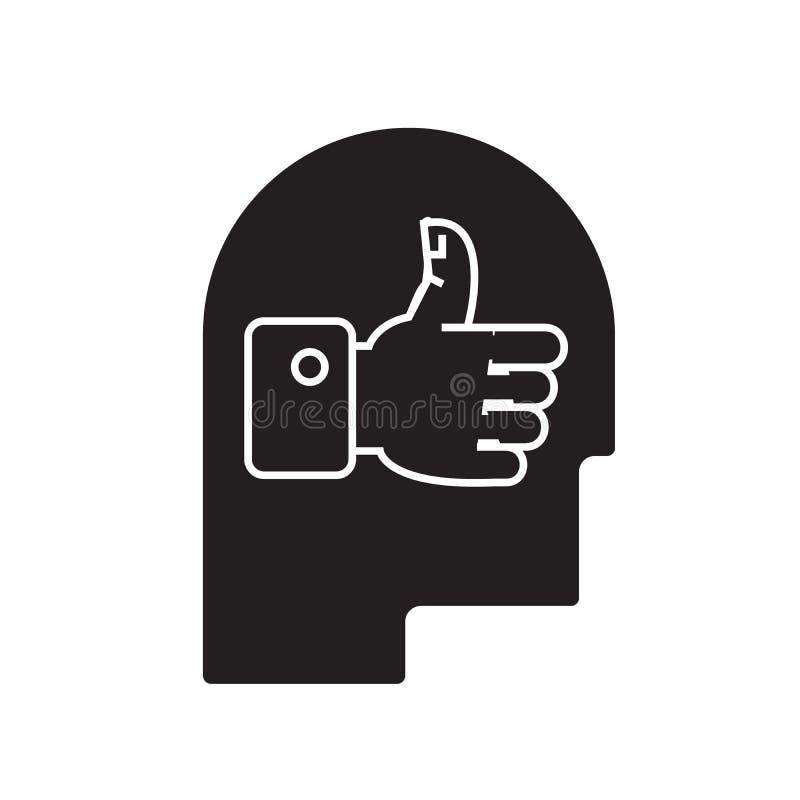 Het goede pictogram van het idee hoofd zwarte vectorconcept Goede idee hoofd vlakke illustratie, teken vector illustratie