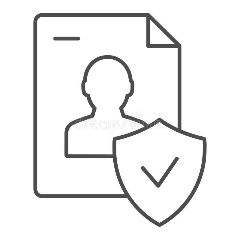 Het goedgekeurde persoonlijke pictogram van de document dun lijn Gecontroleerde identiteits vectordieillustratie op wit wordt geï royalty-vrije illustratie