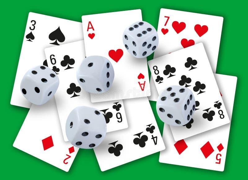 Het gokken met dobbelt het rollen en verschillende speelkaartenclubs, diamanten, harten en spades op achtergrond - eenvoudig scho stock foto