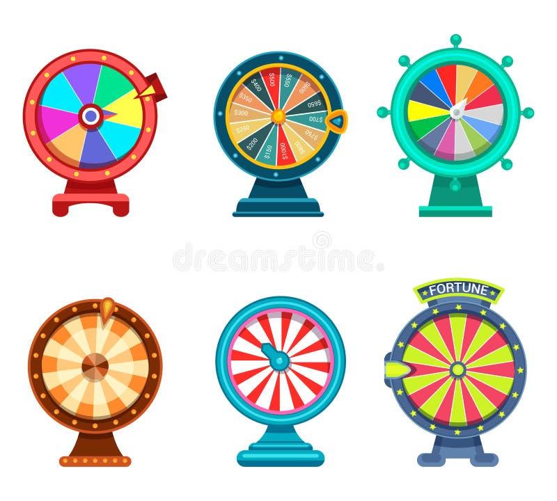 Het gokken roulette of wiel van fortuinpictogrammen stock illustratie