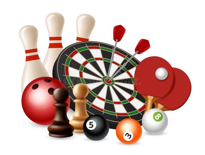 Het gokken sportspelen Vectordiekegelen, pijltjes, schaak, pingpong op witte achtergrond wordt geïsoleerd stock illustratie