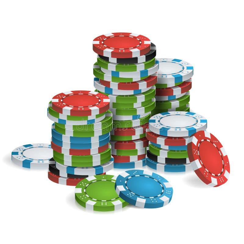 Het gokken van Pook Chips Stacks Vector realistisch vector illustratie