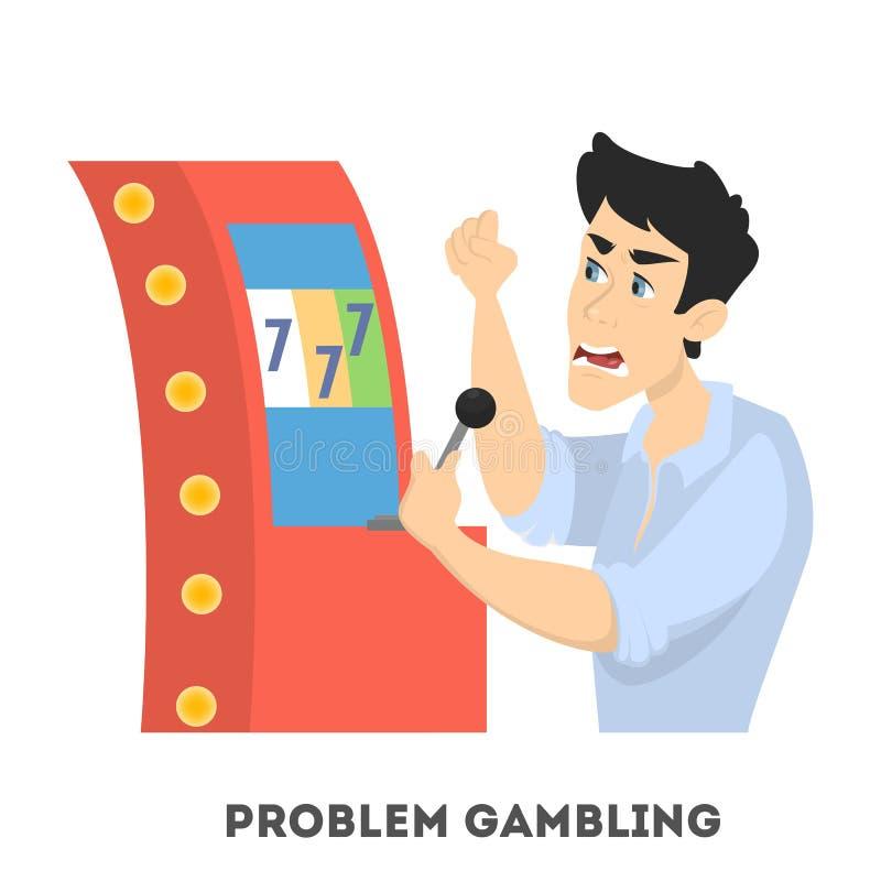 Het gokken Verslaving Het boze mens spelen in casino royalty-vrije illustratie