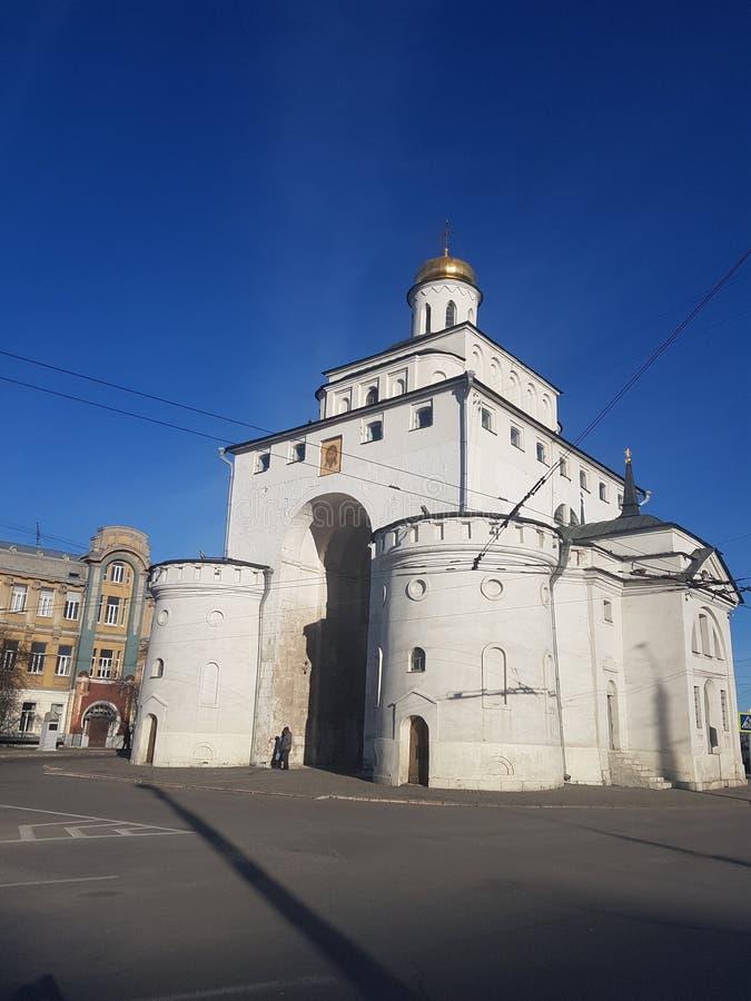 Het Golden Gate van Vladimir tussen 1158 en 1164, Rusland in de Gouden Ring van Rusland wordt geconstrueerd dat stock foto
