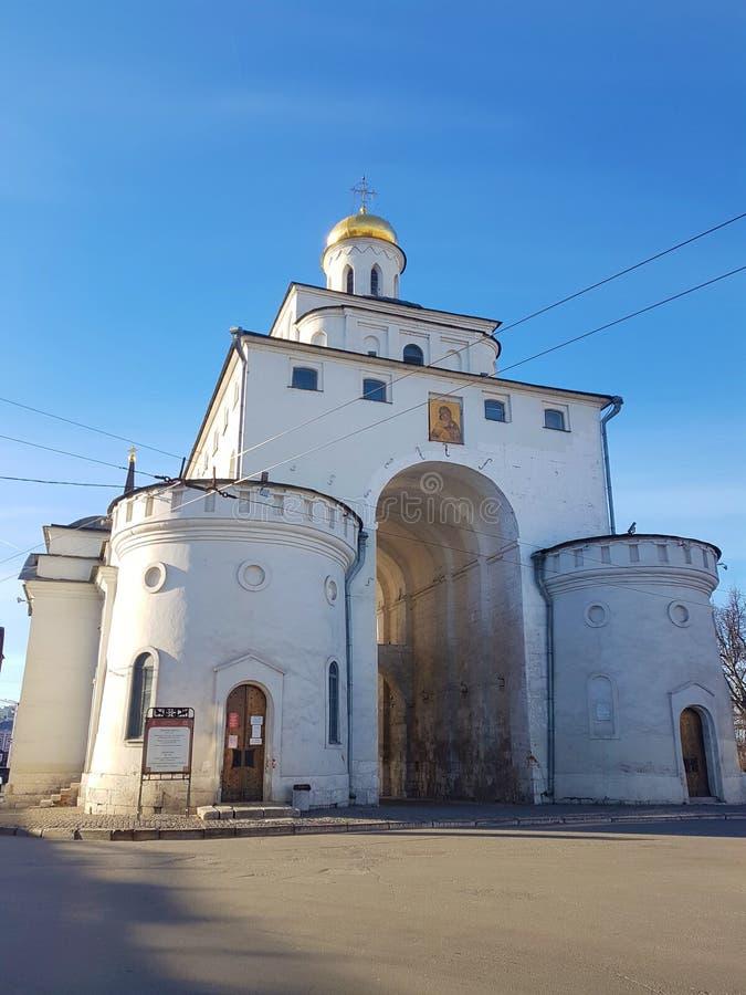 Het Golden Gate van Vladimir tussen 1158 en 1164, Rusland in de Gouden Ring van Rusland wordt geconstrueerd dat stock afbeeldingen