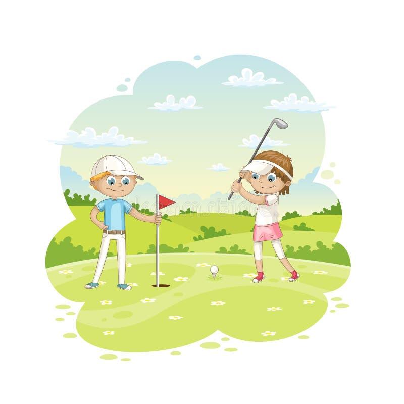 Download Het Golf Van Kinderenspelen Op Een Golfcursus Vector Illustratie - Illustratie bestaande uit nave, stad: 114226354
