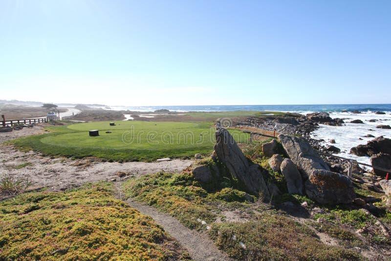 Het Golfcursus van het kiezelsteenstrand stock fotografie