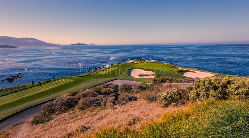 Het golfcursus van het kiezelsteenstrand, Monterey, Californië, de V.S. royalty-vrije stock afbeelding