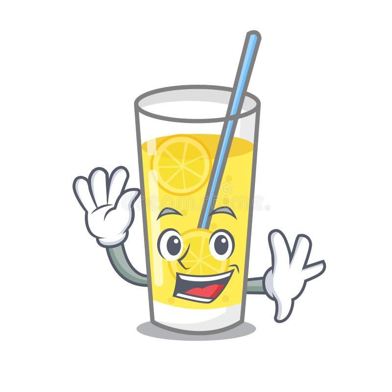 Het golven het beeldverhaalstijl van het limonadekarakter vector illustratie