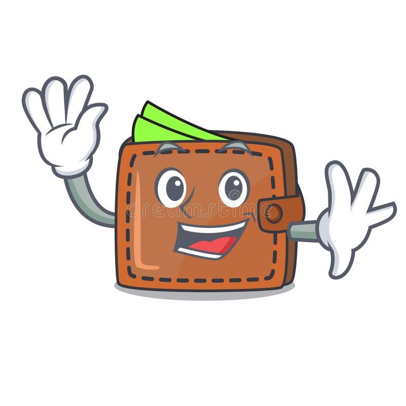 Het golven het beeldverhaalstijl van het portefeuillekarakter stock illustratie