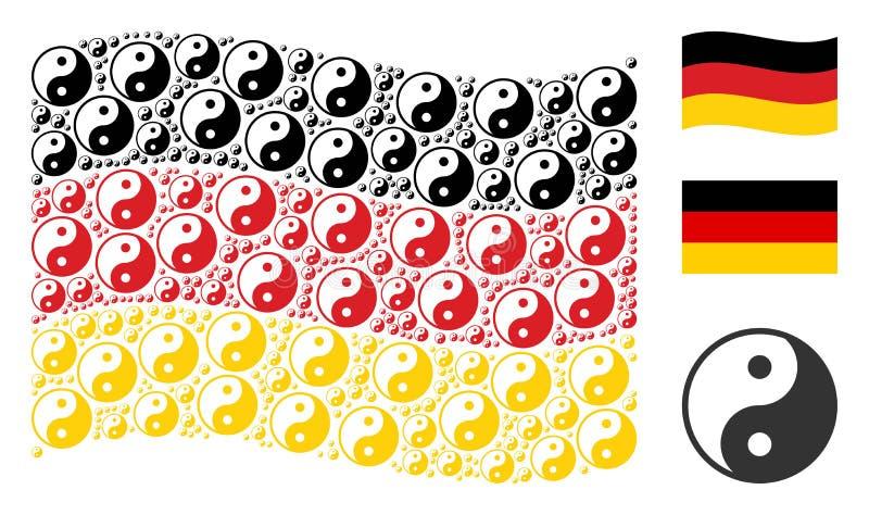 Het golven Duitse Vlagcollage van Yin Yang Icons vector illustratie