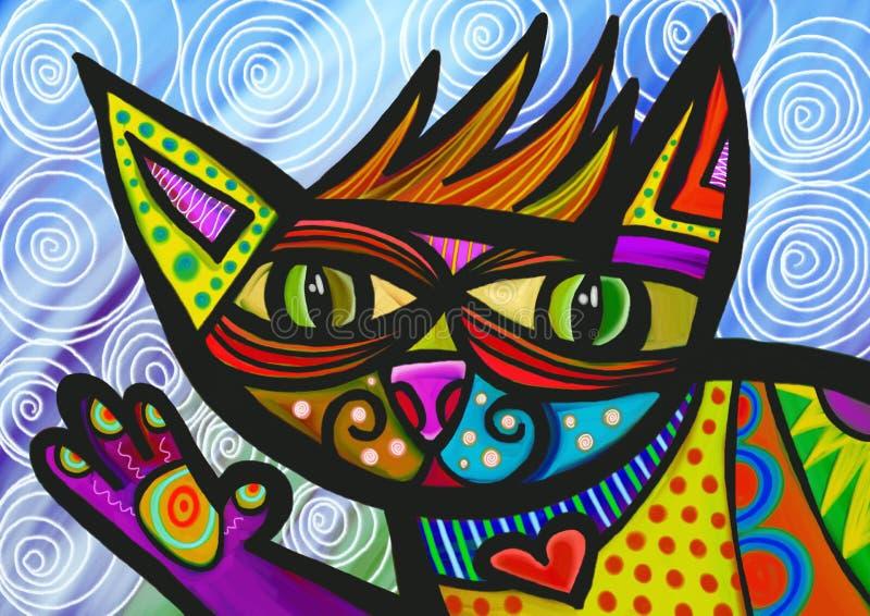 Het golven Kat stock illustratie