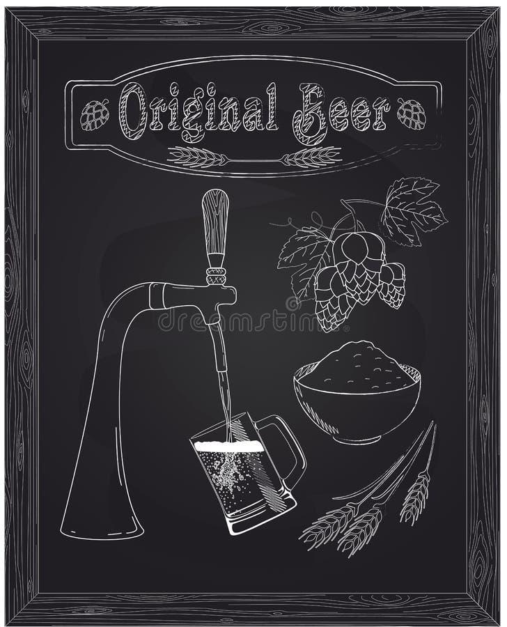 Het goot in een mok s bier met kraan stock illustratie