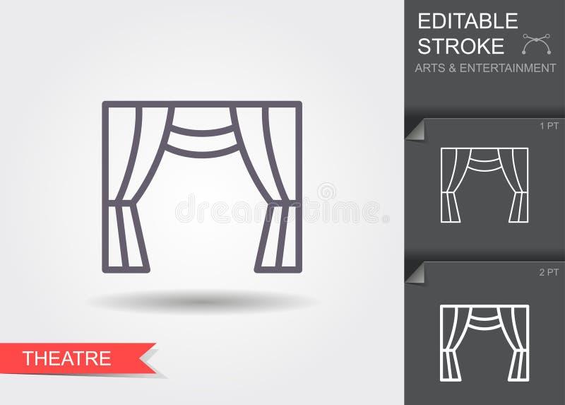 Het gordijn van het theater Lijnpictogram met editable slag vector illustratie