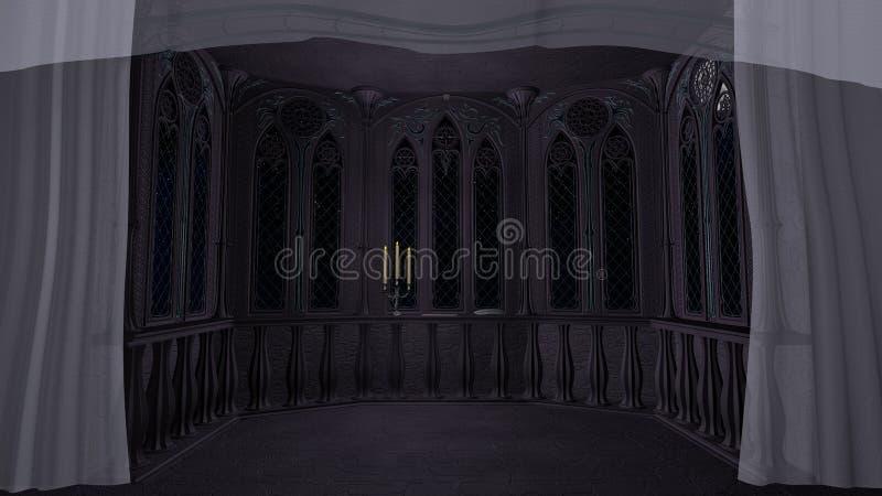 Het gotische balkon in oud 3d kasteel geeft achtergrond terug vector illustratie