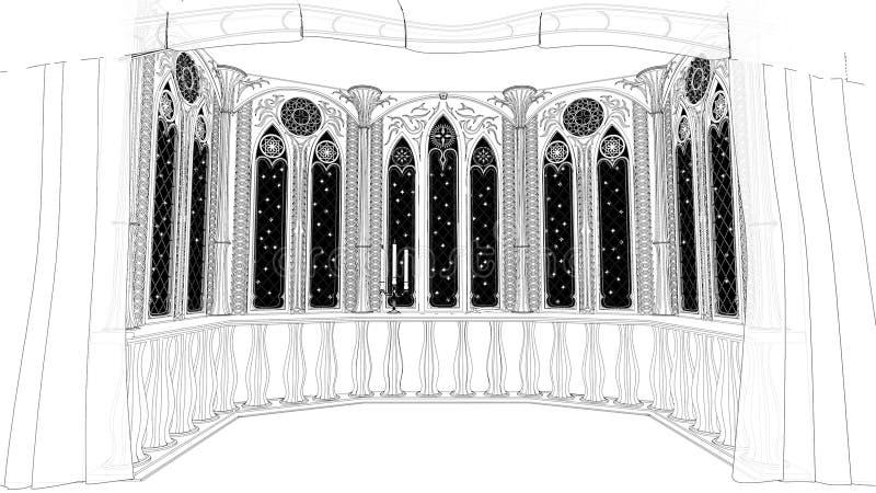 Het gotische balkon in oud 3d kasteel geeft illustratieachtergrond terug royalty-vrije illustratie