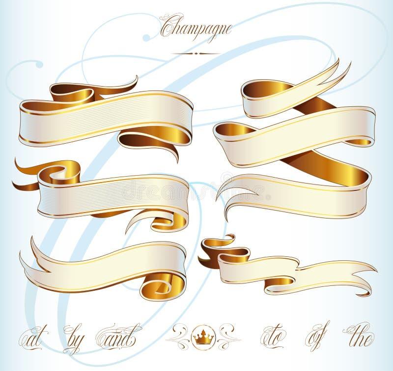 Het goud baner plaatste vector illustratie