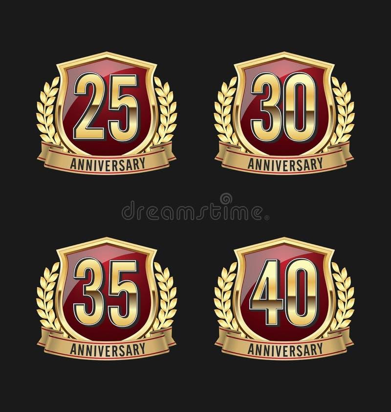 Het Goud en Rood vijfentwintigste, dertigste, vijfendertigste, 40ste Jaren van het verjaardagskenteken vector illustratie