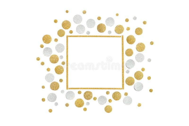 Het goud en het zilver schitteren vierkante kaderdocument besnoeiing royalty-vrije stock foto