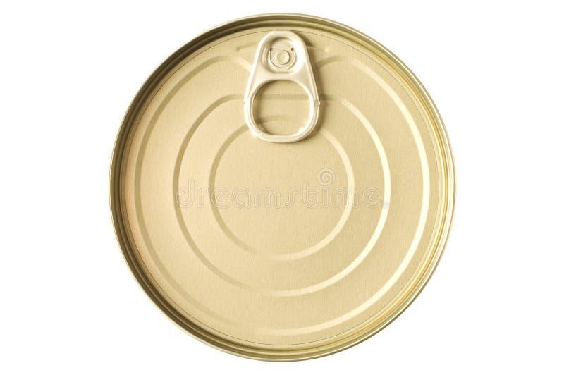 Het goud gekleurde blik van het voedseltin stock fotografie